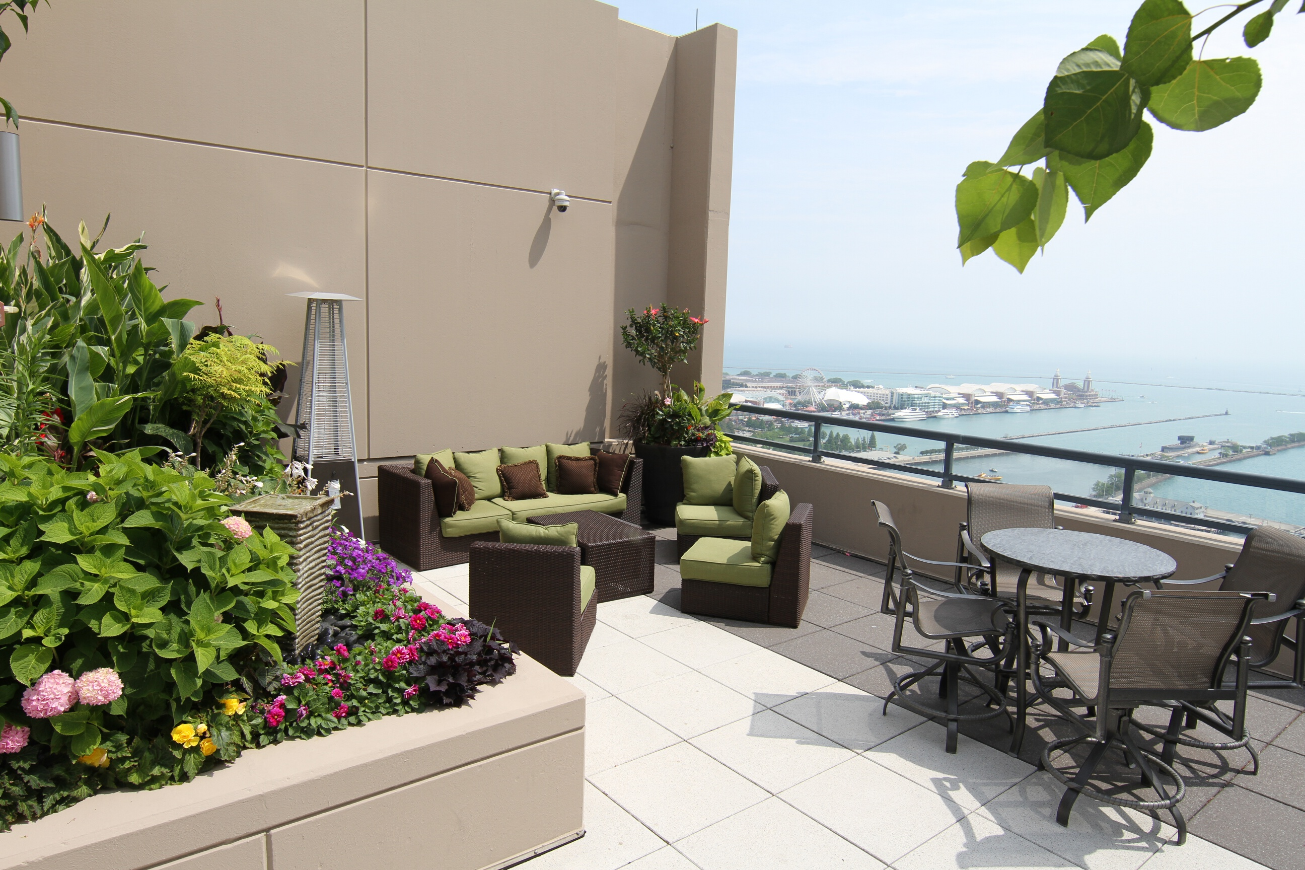 Northeast rooftop lounge area