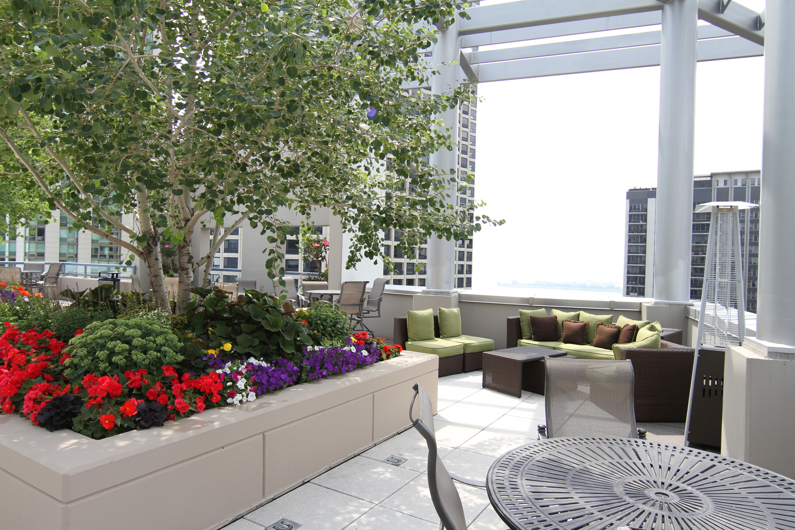 Southwest rooftop lounge area